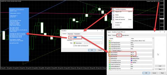 Example Trendline Trader EA setup