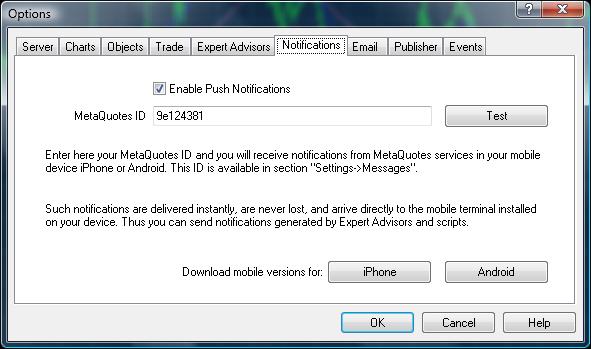 Push Notifications tab in the Metatrader 4 Options window