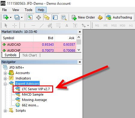 LTC Server EA in MT4 Navigator window