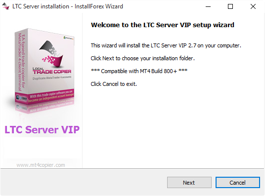 LTC Server auto-installer is ready to begin installation