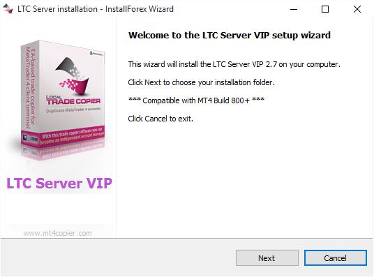LTC Server auto-installer is ready to begin installation