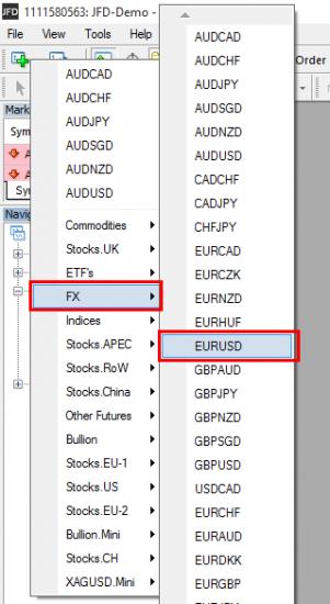 Opening New EURUSD chart window from the top MT4 menu