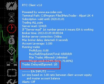 Remote Trade Copier delayed trades counter
