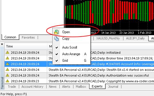Open MT4 Experts log files folder easily