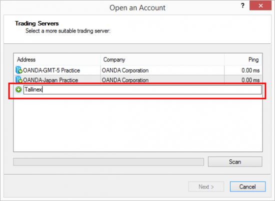 Trying to find Tallinex MT4 server from MT4 platform at Oanda