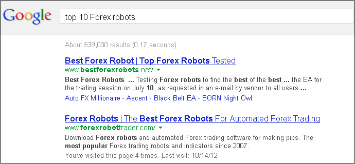 Top 10 Forex robots on Google search