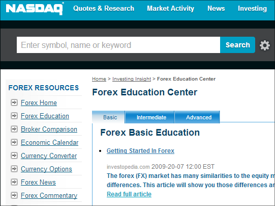 Forex learning site