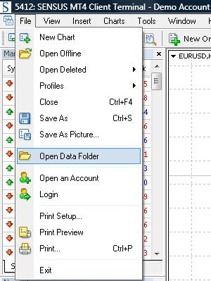 Open data folder menu item mt4 build 604