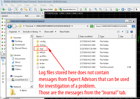 Journal logs folder inside terminal data folder mt4 build 604