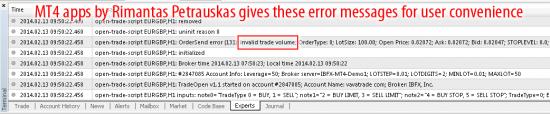 Invalid trade volume error on mt4 build 604