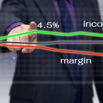 Businessman analyze income and margin graph on screen