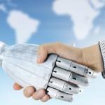 human hand shake with robot