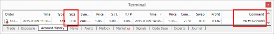 Partially closed order in the Account History tab on MT4 client terminal.