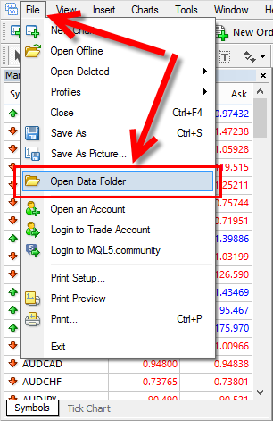 Access MT4 Data Folder from the top menu.