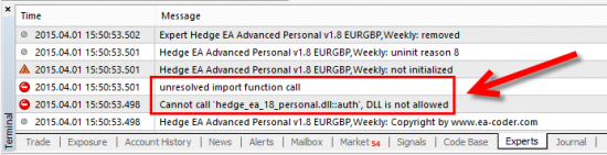 If you have DLL calls disabled then some MT4 Expert Advisors will not be able to run and give this error in the Experts tab.