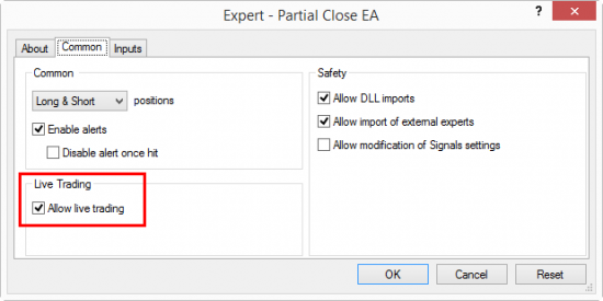 For Expert Advisor to work the Allow live trading option should be selected in the EA Properties window.
