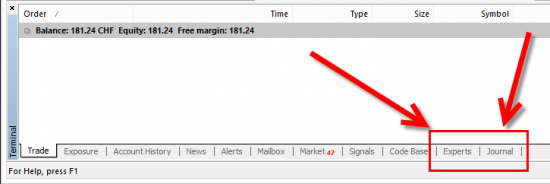 Experts and Journal tabs at the bottom of the MT4 client terminal. This is where MetaTrader logs all of the messages to inform user what's going on.