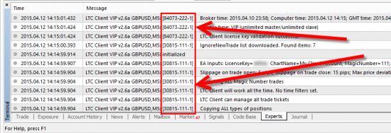 Messages from two different Expert Advisors in the Experts tab of the MT4 client terminal. Both apps use unique message ID which helps to identify which EA printed the message.