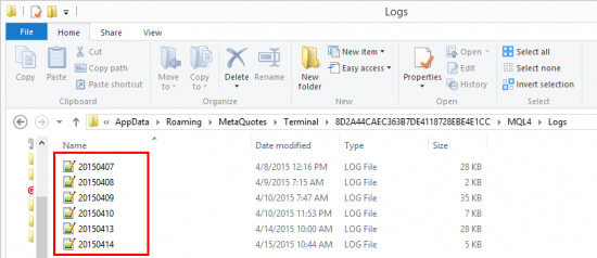 MQL4 Experts Log Files in the Data Folder of MT4 platform.