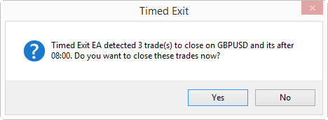 On startup, Timed Exit EA asks a user whether it should close open positions or not, because the exit time has passed already.