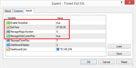 Timed Exit EA scheduled to close all manually open positions 30 seconds before London open