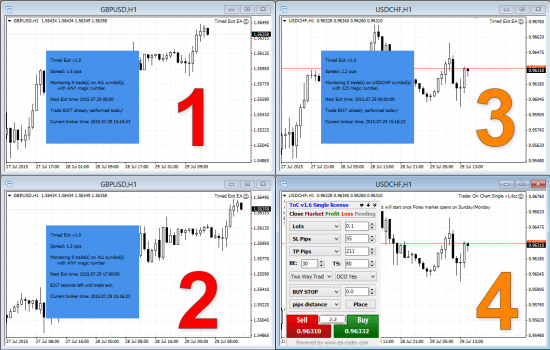 3x instances of Timed Exit EA on the same MT4 platform with Trader on Chart