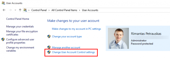 User Accounts settings in Control Panel of Windows 10