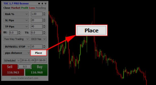 Placing straddle pending orders scheduled for next day