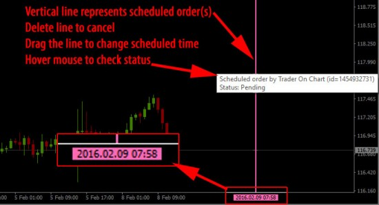 Scheduled straddle orders at 07:58