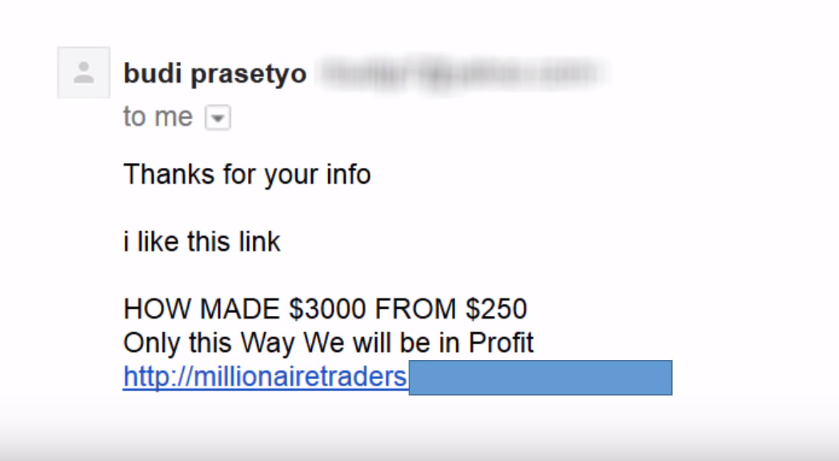 An example of a spam email that offers false lucrative deals.