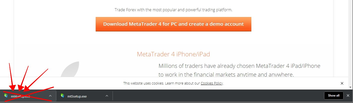 If we scroll down the page we'll find a Download MetaTrader 4 button which downloads mt4setup.exe file. However, if we execute this setup file it will actually install MT5 instead of MT4 even though it is named MT4 setup. This is quite annoying for many retail traders because it used to be the only way to have MT4 without a broker. Now many people miss this. That's why I've created this tutorial to explain how we can still install the same good old MT4 platform without a broker account.