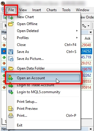 Go to File - Open an Account to begin.