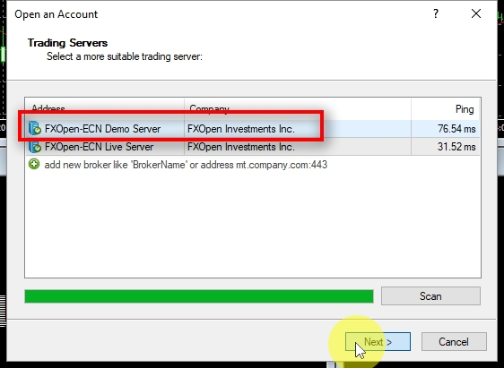 In the Open an Account window we see FxOpen trading servers. Select a demo server from the list (which usually is named FxOpen-ECN Demo Server) and click on Next.