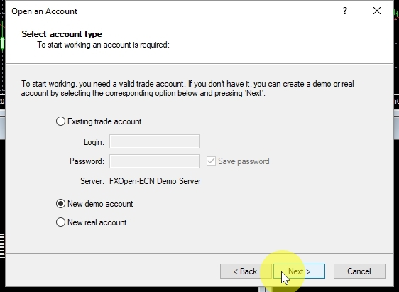 In this step make sure New demo account is selected and click on Next.
