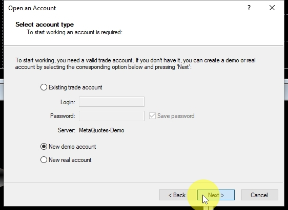 In the Select account type step make sure the New demo account is selected and click on Next to continue.