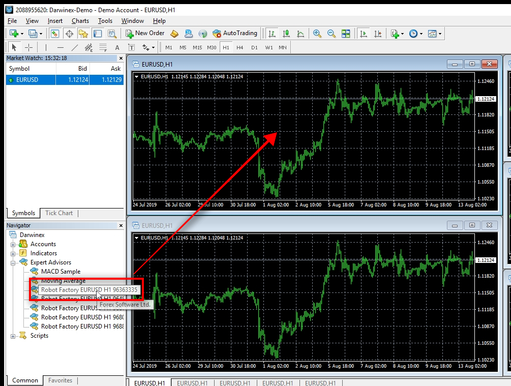 Starting MT4 Expert Advisor To start the MT4 trading robot, I need to drag and drop it on the chart.